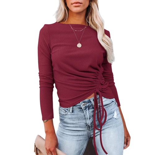 Solid Wine Red Knitted Drawstring Long Sleeve Sweater TQK271318-23