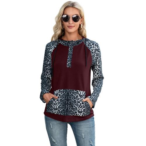Wine Red Splice Leopard Print Long Sleeve Hoodie TQK230341-23