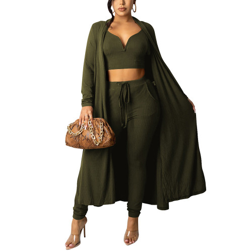 Solid Army Green Vest Pant and Robe 3pcs Set TQK710409-27