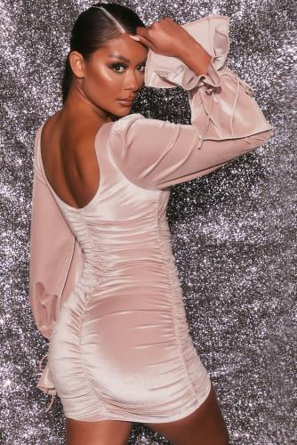Pink Velvet Puff Sleeve Mini Dress LC229978-10