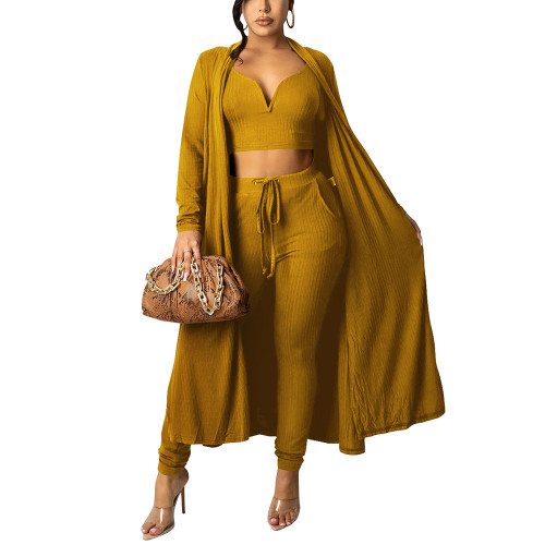 Solid Yellow Vest Pant and Robe 3pcs Set TQK710409-7