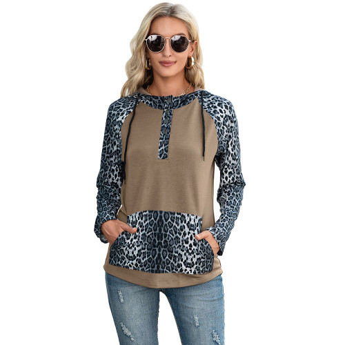 Khaki Splice Leopard Print Long Sleeve Hoodie TQK230341-21