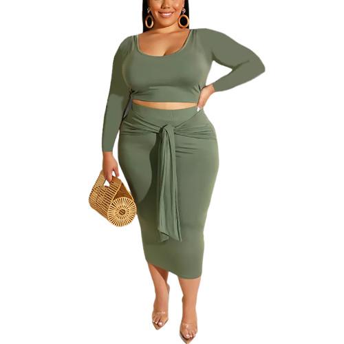 Green Long Sleeve Crop Top and Tie Waist Skirt Plus Size Set TQK710408-9