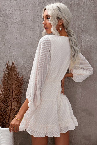 Apricot Waved Stripes Textured Balloon Sleeve Tiered Dress LC227347-18