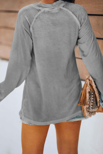 Gray V Neck Casual Long Sleeve Top LC2519730-11