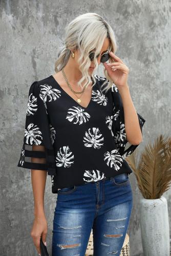Black V Neck Mesh Splicing Sleeve Palm Leaf Print Top LC2518236-2