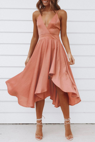 Pink Sleeveless Open Back Tie Knot Ruffed Midi Dress LC615217-10