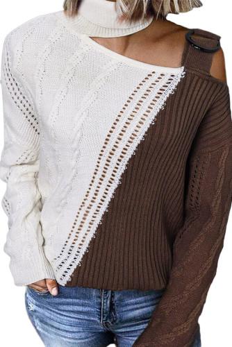 Turtleneck Cold Shoulder Sweater LC272471-1