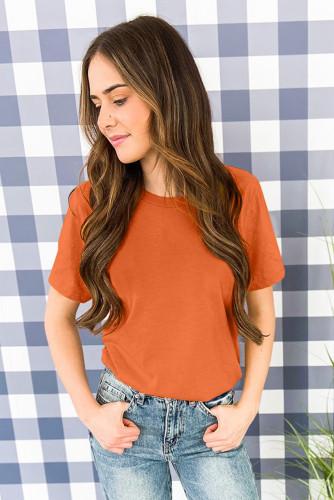 Orange Solid Color Crew Neck Tee LC2526272-14