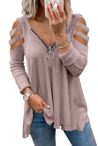 Pink Zip Neck Cut-out Waffle Knit Long Sleeve Top LC2519673-10