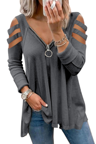 Gray Zip Neck Cut-out Waffle Knit Long Sleeve Top LC2519673-11