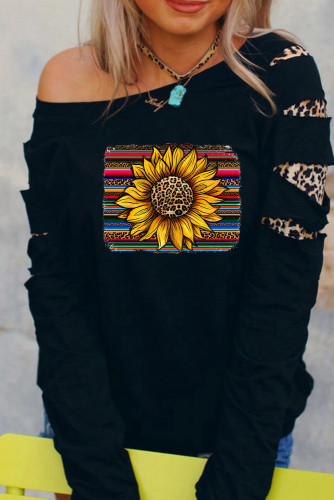 Leopard Sunflower Print Cut-out Pullover Sweatshirt LC25310142-2