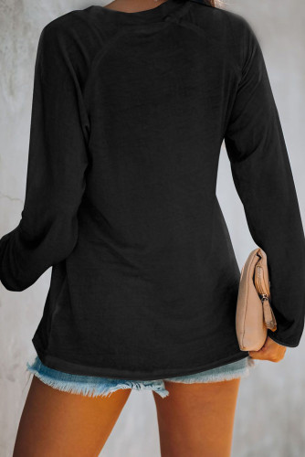 Black V Neck Casual Long Sleeve Top LC2519730-2