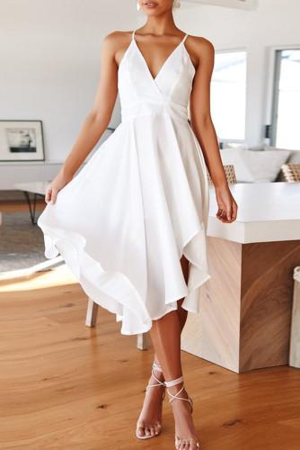 White Sleeveless Open Back Tie Knot Ruffed Midi Dress LC615217-1