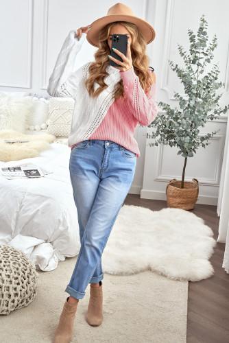 Pink Turtleneck Cold Shoulder Sweater LC272471-10