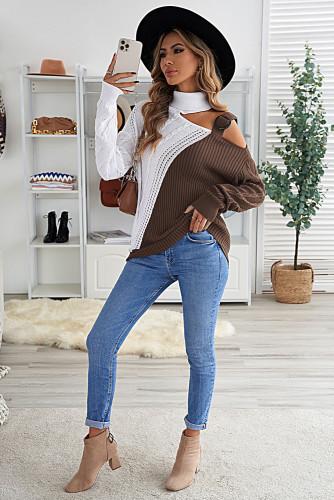 Brown Turtleneck Cold Shoulder Sweater LC272471-17