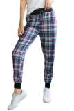 High Waisted Drawstring Plaid Joggers with Pockets LC772587-3