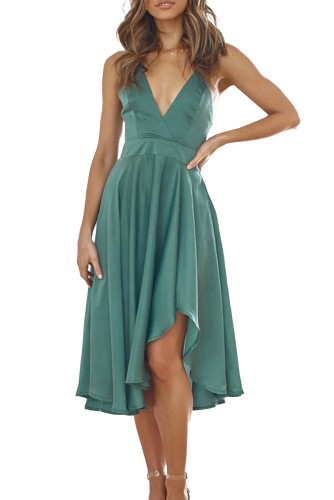 Green Sleeveless Open Back Tie Knot Ruffed Midi Dress LC615217-9