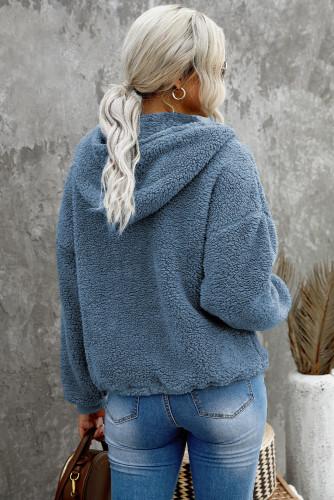 Sky Blue 1/4 Zip Hooded Sherpa Sweatshirt with Kangaroo LC2537900-4