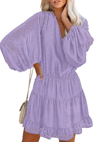 Purple Waved Stripes Textured Balloon Sleeve Tiered Dress LC227347-8