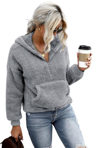 Gray 1/4 Zip Hooded Sherpa Sweatshirt with Kangaroo LC2537900-11
