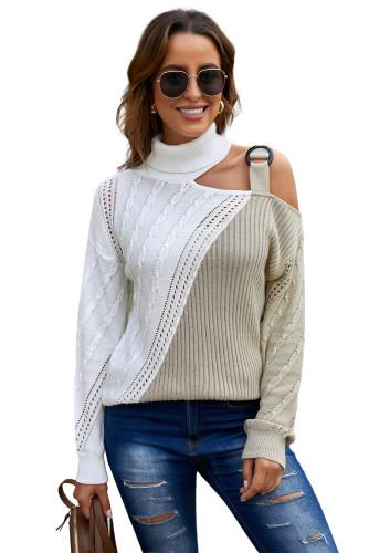 Apricot Turtleneck Cold Shoulder Sweater LC272471-18