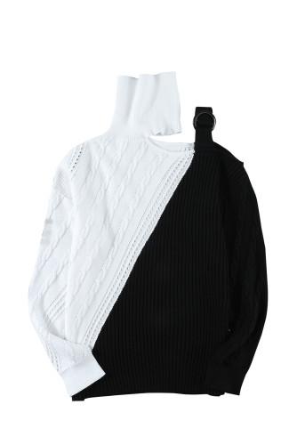 Black Turtleneck Cold Shoulder Sweater LC272471-2