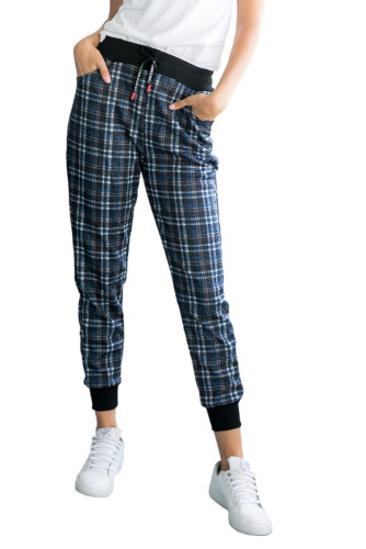 Blue High Waisted Drawstring Plaid Joggers with Pockets LC772587-5