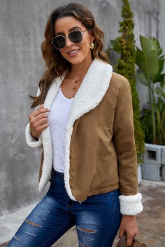 Brown Lapel Collar Fleece Open Front Coat LC8511362-17
