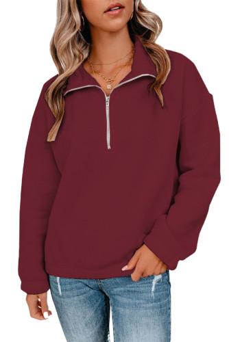 Wine Red Zipped Collar Sweatshirt LC2537889-3