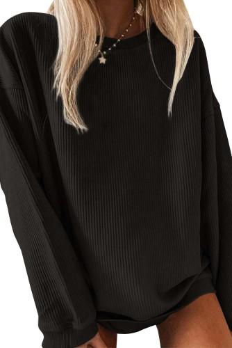 Black Crew Neck Ribbed Oversized Sweatshirt LC2538173-2