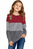 Red Colorblock Kids Long Sleeve Top TZ25419-3