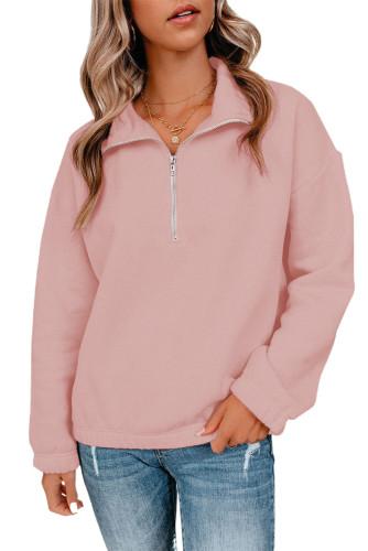 Pink Zipped Collar Sweatshirt LC2537889-10