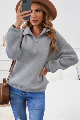 Gray Zipped Collar Sweatshirt LC2537889-11