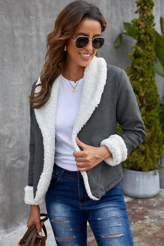 Gray Lapel Collar Fleece Open Front Coat LC8511362-11