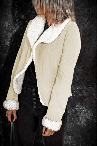 Apricot Lapel Collar Fleece Open Front Coat LC8511362-18