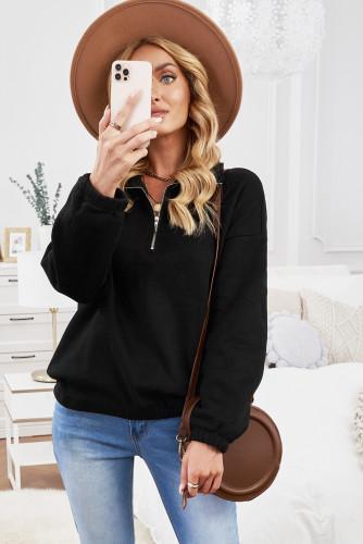 Black Zipped Collar Sweatshirt LC2537889-2