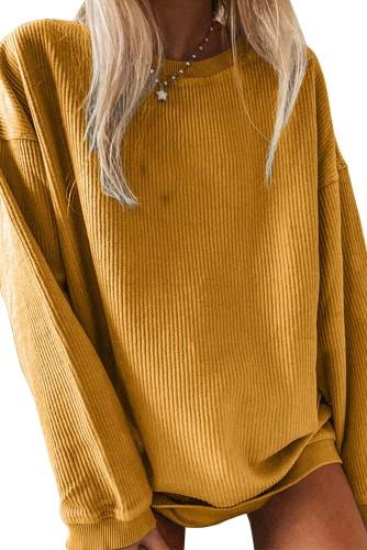 Crew Neck Ribbed Oversized Sweatshirt LC2538173-14