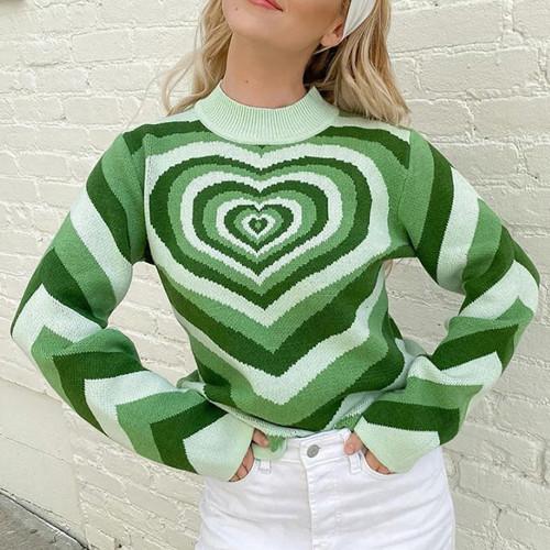 Green Rainbow Heart Print Color Block Sweater TQK271353-9