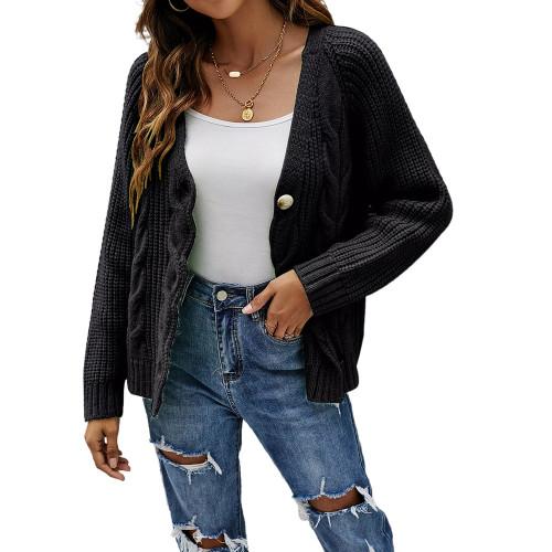Black Button Cable Knit Short Cardigan TQK271354-2