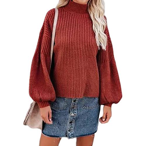 Rust Red Solid Turtleneck Lantern Sleeve Pullover Sweater TQK271348-33
