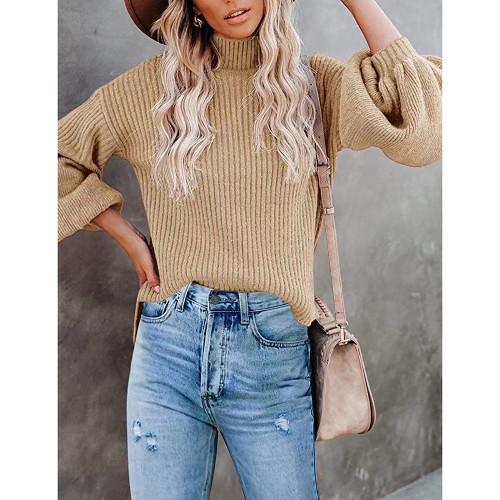 Khaki Solid Turtleneck Lantern Sleeve Pullover Sweater TQK271348-21