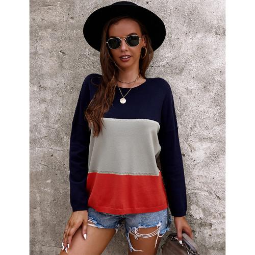 Gray Round Collar Color Block Sweater TQK271352-11