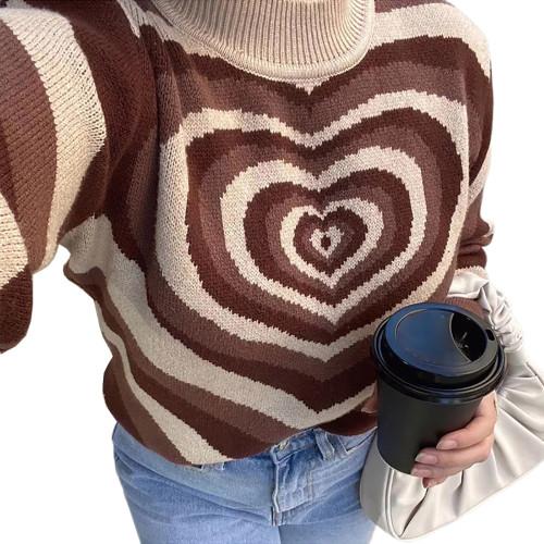 Brown Rainbow Heart Print Color Block Sweater TQK271353-17