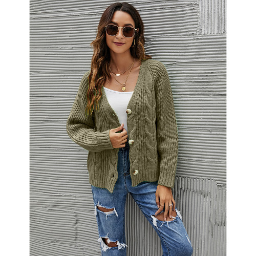 Army Green Button Cable Knit Short Cardigan TQK271354-27