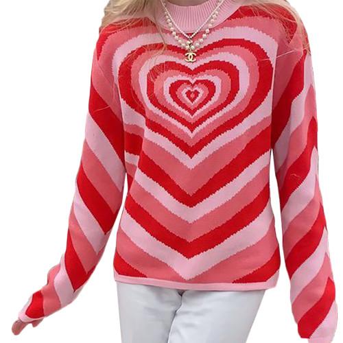 Red Rainbow Heart Print Color Block Sweater TQK271353-3