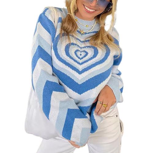 Blue Rainbow Heart Print Color Block Sweater TQK271353-5