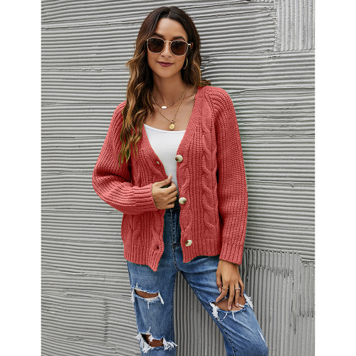 Red Button Cable Knit Short Cardigan TQK271354-3