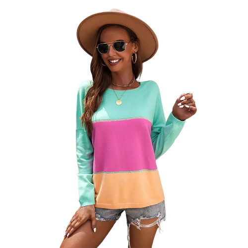 Rosy Round Collar Color Block Sweater TQK271352-6