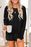 Black Ribbed Knit Drop-Shoulder Sleeve Top and Shorts Lounge Set LC4511929-2